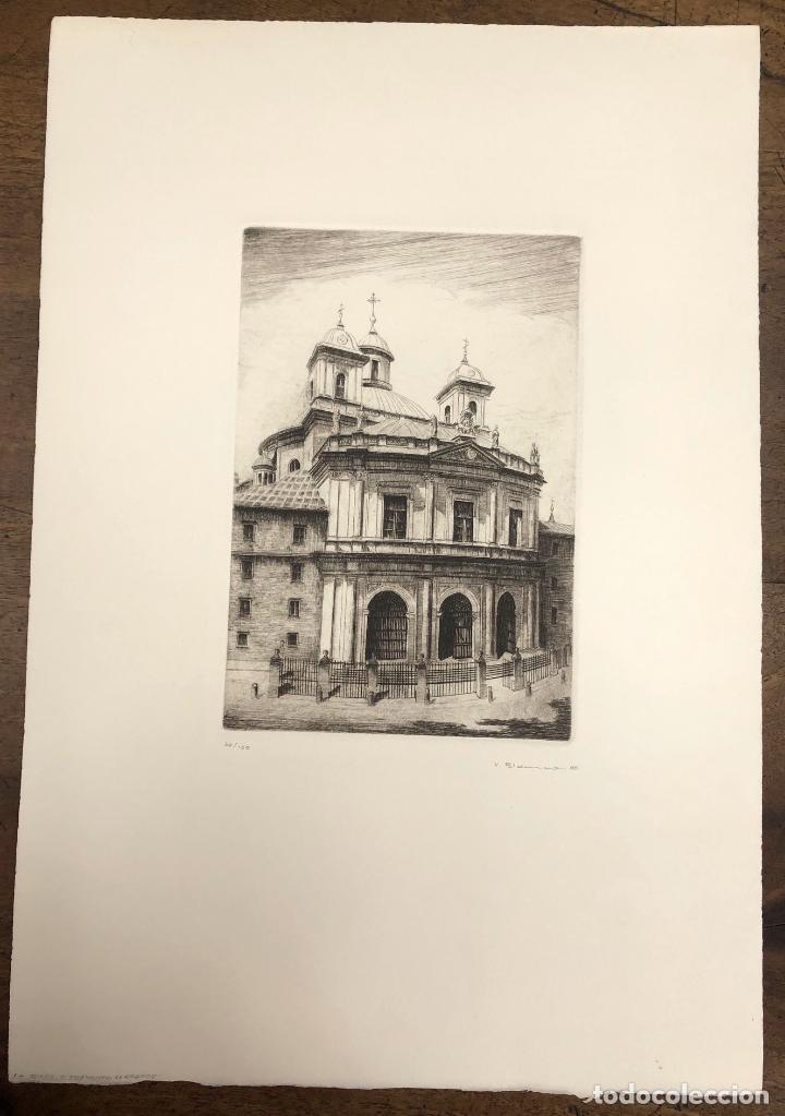 GRABADO CALCOGRAFICO REAL BASILICA SAN FRANCISCO EL GRANDE. MADRID. V. BLANCO. AÑO 1988 (Arte - Grabados - Contemporáneos siglo XX)