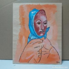 Arte: FERNANDE OLIVIER CON PAÑUELO. PIROGRABADO.. Lote 245506220