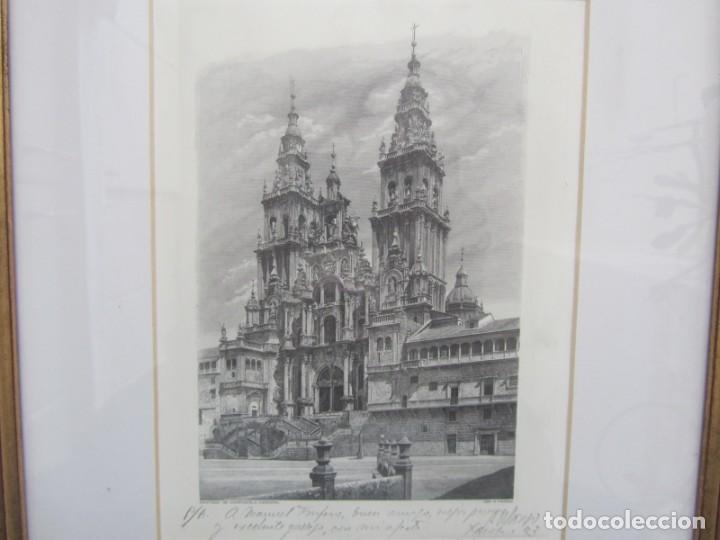 Arte: Grabado enmarcado Catedral de Santiago de Compostela, P/A, Antonio Manso, Firmado - Foto 2 - 245898190