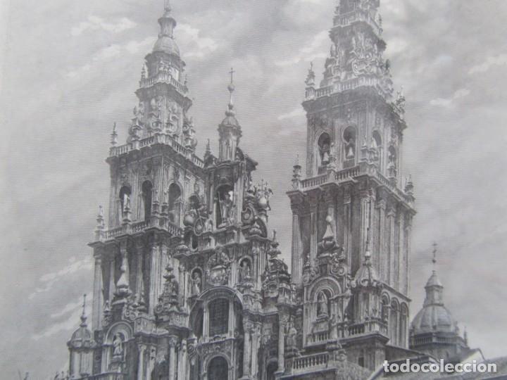 Arte: Grabado enmarcado Catedral de Santiago de Compostela, P/A, Antonio Manso, Firmado - Foto 6 - 245898190