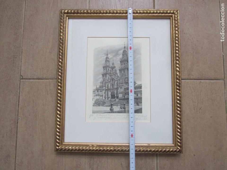 Arte: Grabado enmarcado Catedral de Santiago de Compostela, P/A, Antonio Manso, Firmado - Foto 8 - 245898190