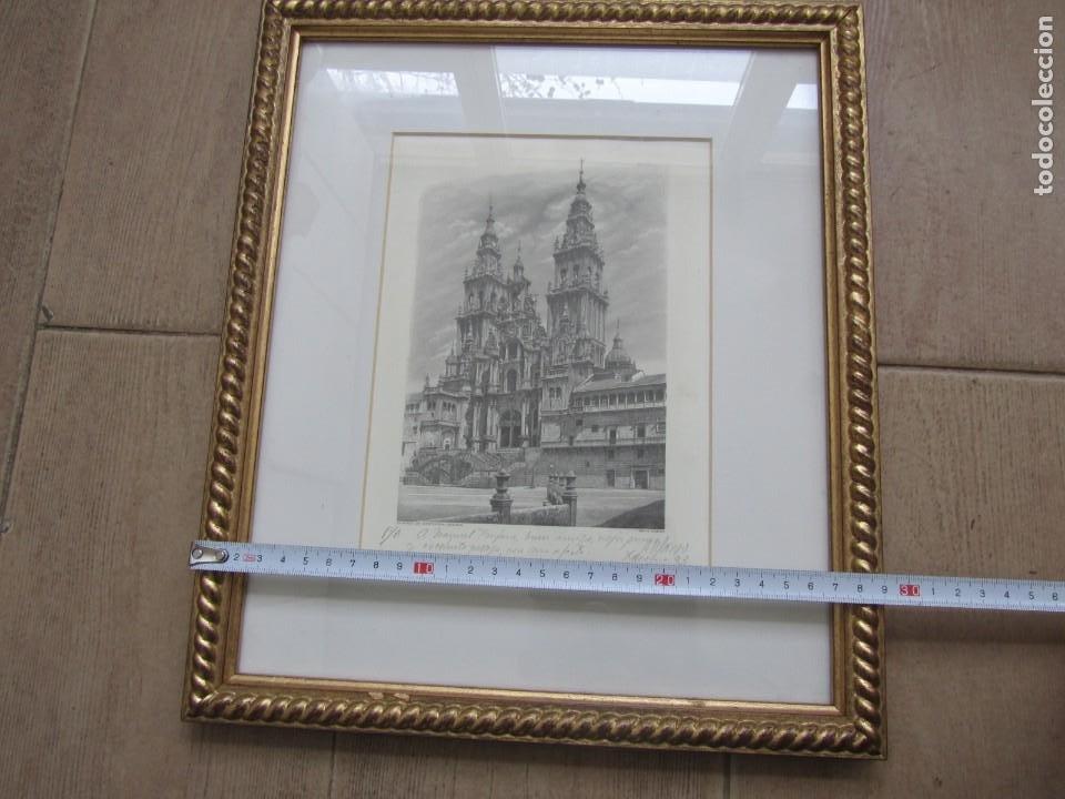 Arte: Grabado enmarcado Catedral de Santiago de Compostela, P/A, Antonio Manso, Firmado - Foto 9 - 245898190