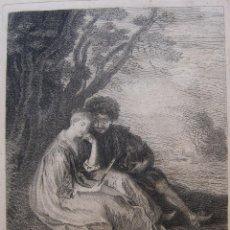 Arte: LOUIS CRÉPY. LE CONTEUR DE FLEURETE. HACIA 1750. AGUAFUERTE. SEGÚN WATTEAU. Lote 245916460