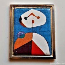Arte: 1938 JOAN MIRO - PLACA DE PLATA CHAPADA CON PINTURA METAL A COLOR RETRATO II -7X6.CM -95.50.GR. Lote 245987775