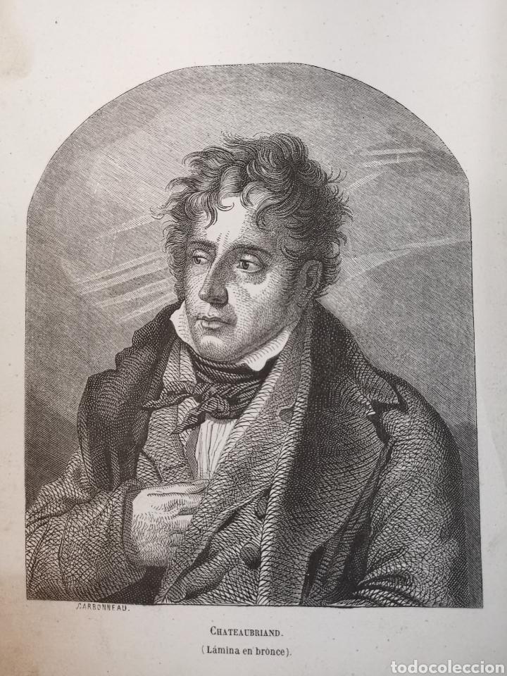 Arte: Grabado del s. XIX de Chateaubriand. Lámina en bronce. Carbonneau - Foto 2 - 246021285