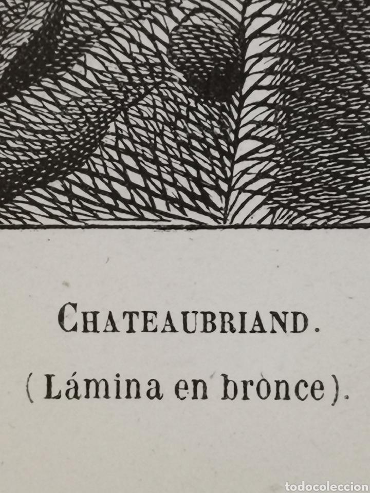Arte: Grabado del s. XIX de Chateaubriand. Lámina en bronce. Carbonneau - Foto 4 - 246021285