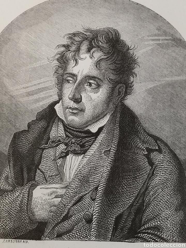 Arte: Grabado del s. XIX de Chateaubriand. Lámina en bronce. Carbonneau - Foto 5 - 246021285