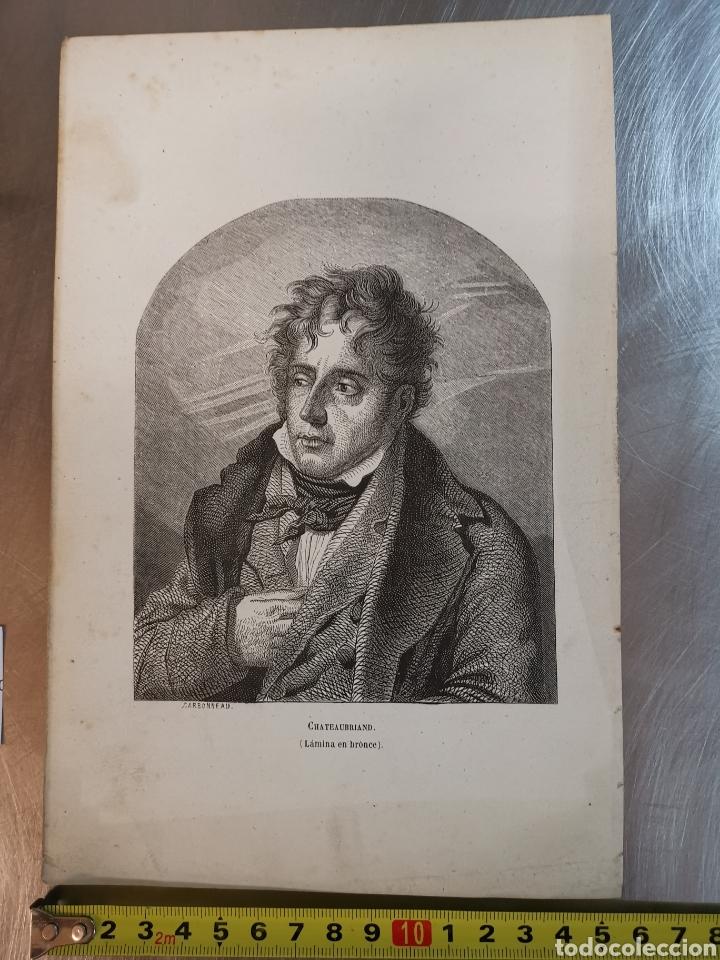 GRABADO DEL S. XIX DE CHATEAUBRIAND. LÁMINA EN BRONCE. CARBONNEAU (Arte - Grabados - Modernos siglo XIX)