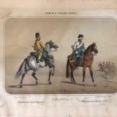 Arte: GRABADO FIRMAD VILLEGAS ÁLBUM DE LA CABALLERÍA ESPAÑOLA SIGLO XVIII REGIMIENTO DE SAGUNTO (DRAGONES). Lote 246083110