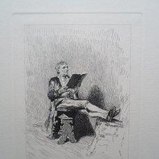 Arte: FORTUNY POR MIGUEL SEGUÍ (BARCELONA 1858-1923) GRABADO LA LECTURA 12X17 PAPEL 49X38 CENTENARIO 1975. Lote 246187225