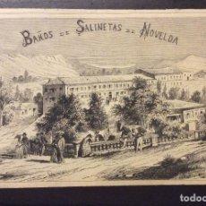 Arte: GRABADO BAÑOS DE SALINETAS DE NOVELDA (ALICANTE)AÑO DE 1875. Lote 246319265