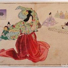 Arte: MAGISTRAL GRABADO JAPONÉS ORIGINAL MAESTRO CHIKANOBU, MEDIADOS SIGLO XIX, ESCENA KABUKI, MUY RARO. Lote 246533485