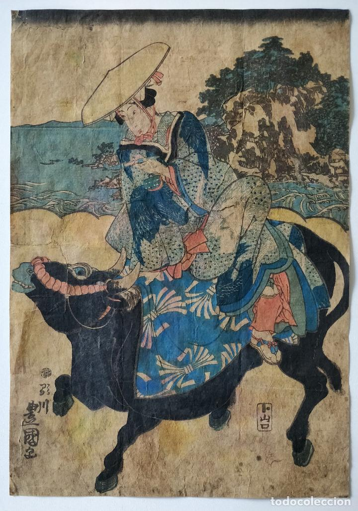 MAGISTRAL GRABADO JAPONÉS ORIGINAL DEL SIGLO XVIII DEL MAESTRO TOYOKUNI, GRAN CALIDAD, CIRCA 1790 (Arte - Grabados - Antiguos hasta el siglo XVIII)