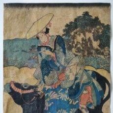 Arte: MAGISTRAL GRABADO JAPONÉS ORIGINAL DEL SIGLO XVIII DEL MAESTRO TOYOKUNI, GRAN CALIDAD, CIRCA 1790. Lote 246738725