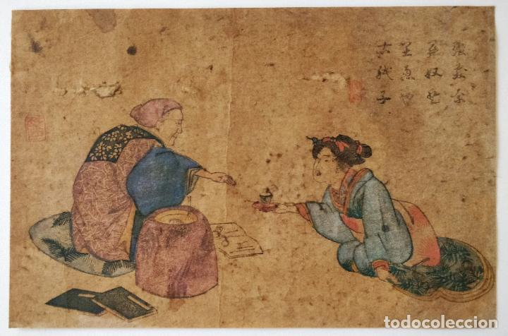 EXCELENTE GRABADO ORIGINAL DEL MAESTRO HOKUSAI, GRAN CALIDAD, CIRCA 1790, RARO, GEISHA, UKIYOE (Arte - Grabados - Antiguos hasta el siglo XVIII)