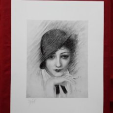 Arte: EMILI VILÀ GORGOLL. GRAVADO AL AGUAFUERTE DE DAMA FUMANDO. ART DECO. NUMERADO 3/15.. Lote 219897120