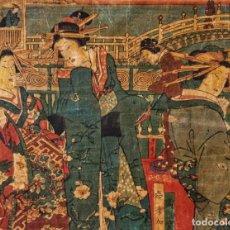 Arte: EXCELENTE GRABADO JAPONÉS ORIGINAL, MAESTRO KUNISADA, MEDIADOS SIGLO XIX, CIRCA 1850, RETRATO GEISHA. Lote 247327550