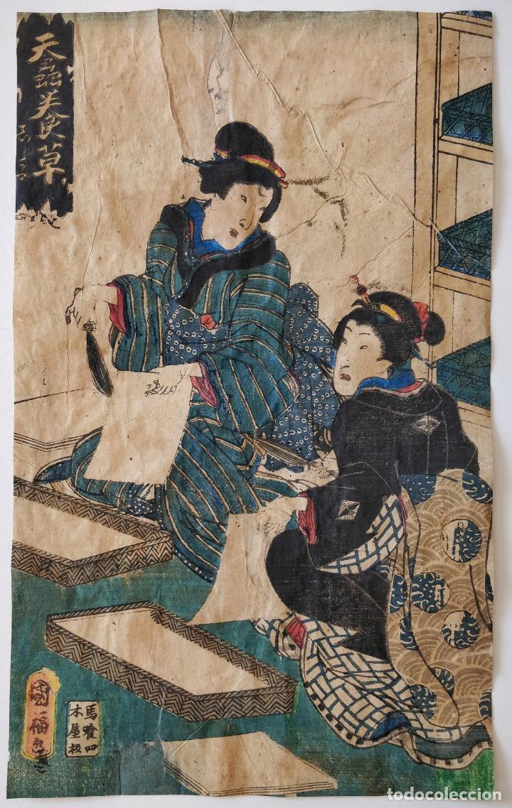 MARAVILLOSO GRABADO JAPONÉS ORIGINAL DE PRINCIPIOS SIGLO XIX, RETRATO GEISHAS, CIRCA 1820 (Arte - Grabados - Modernos siglo XIX)