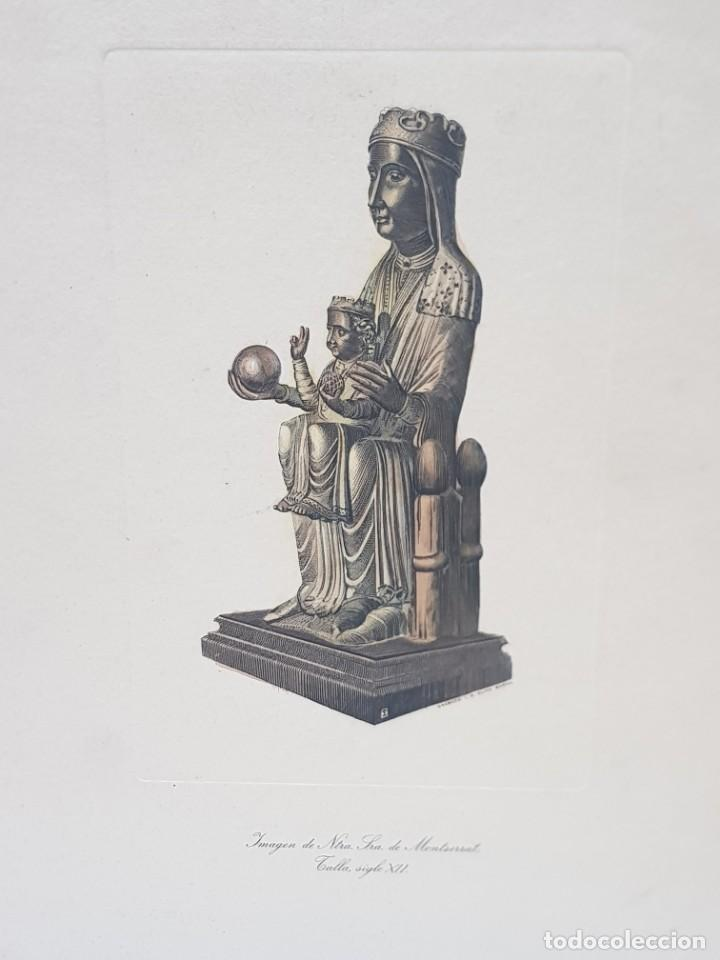 GRABADO AL COBRE ANTIGUO NTRA. SEÑORA MONSERRAT SOBRE TALLA SIGLO XII DE I.G.OLIVA BARNA (Arte - Grabados - Contemporáneos siglo XX)
