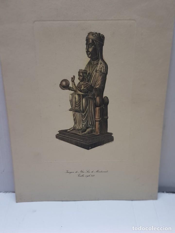 Arte: Grabado al cobre antiguo Ntra. Señora Monserrat sobre Talla siglo XII de I.G.Oliva Barna - Foto 2 - 247590745