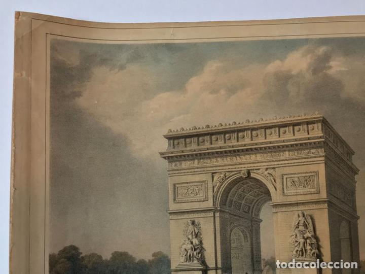 Arte: Grabado antiguo siglo XIX Paris Francia Arco del Triunfo 1836 Bernard & Frey - Bernard & Frey - Foto 2 - 247974775