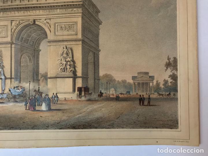 Arte: Grabado antiguo siglo XIX Paris Francia Arco del Triunfo 1836 Bernard & Frey - Bernard & Frey - Foto 5 - 247974775
