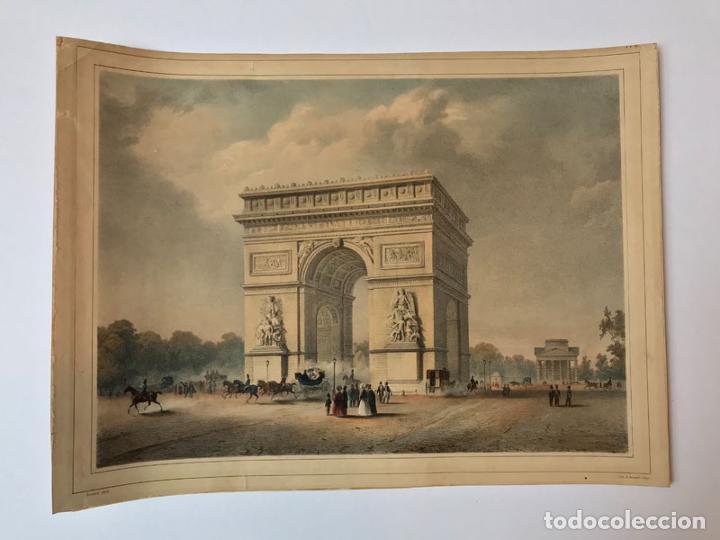 GRABADO ANTIGUO SIGLO XIX PARIS FRANCIA ARCO DEL TRIUNFO 1836 BERNARD & FREY - BERNARD & FREY (Arte - Grabados - Modernos siglo XIX)