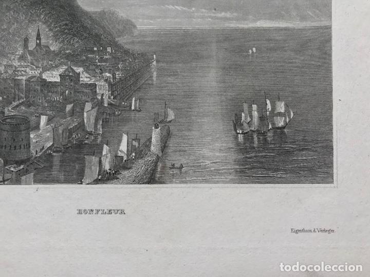 Arte: Grabado antiguo siglo XIX Honfleur Normandia 1850 Hildburghausen - Hildburghausen - Foto 5 - 247974795