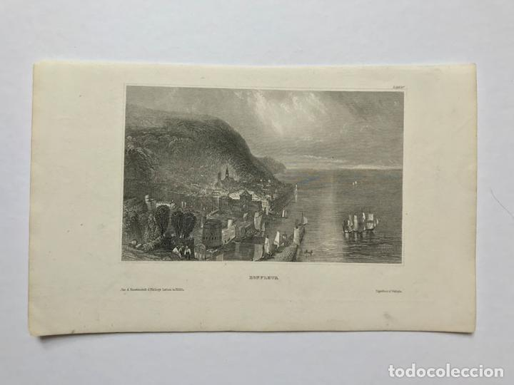 GRABADO ANTIGUO SIGLO XIX HONFLEUR NORMANDIA 1850 HILDBURGHAUSEN - HILDBURGHAUSEN (Arte - Grabados - Modernos siglo XIX)