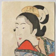 Arte: MARAVILLOSO RETRATO DE UNA JOVEN GEISHA, GRABADO JAPONÉS ORIGINAL, UKIYO-E, XILOGRAFÍA, BUEN ESTADO. Lote 248048400