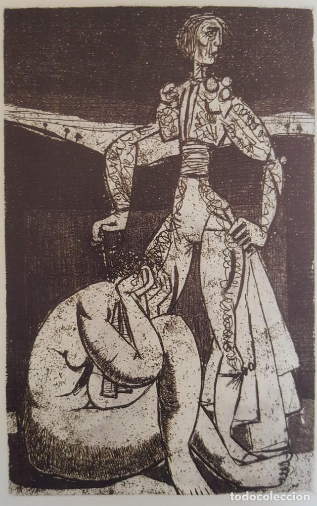 """""""TORERO Y DESNUDO"""" AURELIO PÉREZ ( ALHAMA 1930- MURCIA 2000) (Arte - Grabados - Contemporáneos siglo XX)"""