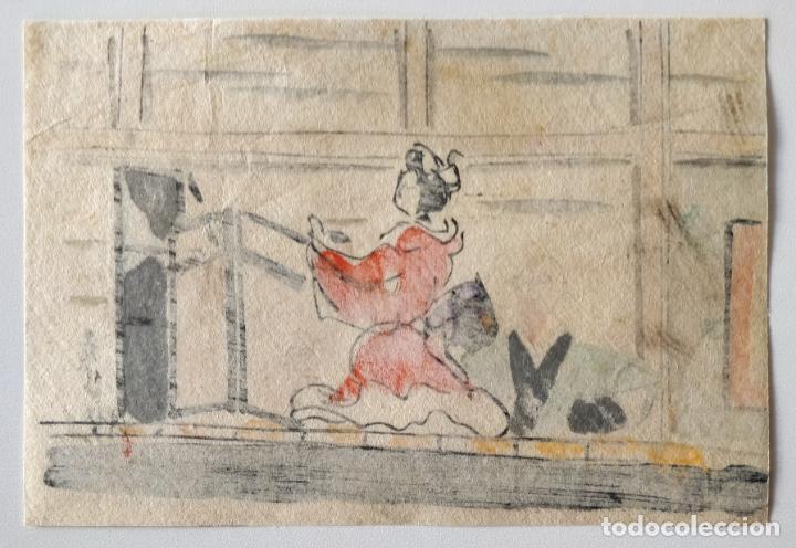 Arte: Exquisito grabado japonés original de finales del siglo XIX, bonita escena, ukiyo-e, xilografía - Foto 2 - 248445195