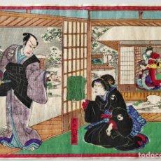 Arte: EXCELENTE GRABADO JAPONÉS ORIGINAL, MAESTRO KUNISADA, CYUSHINGURA, GEISHAS, CIRCA 1850. Lote 248699560