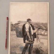 Arte: HOJA GRABADO REVISTA ORIGINAL CIRCA 1885. DE VUELTA DEL TRABAJO, POR CASTO PLASENCIA. Lote 249113345