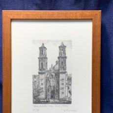 Arte: GRABADO A. MACARRON IGLESIA DE SANTA PRISCA TAXCO MEXICO MEJICO ENMARCADO 59/85 30X22CMS. Lote 249213470
