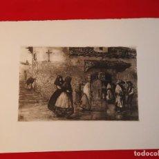 Arte: LA ERMITA O ENTRANDO EN LA IGLESIA GRABADO RICARDO BAROJA AGUATINTA AGUAFUERTE CALCOGRAFÍA NACIONAL. Lote 249465850
