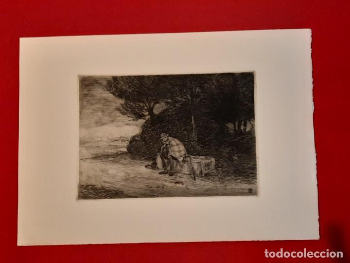 DESCANSO EN EL CAMINO GRABADO RICARDO BAROJA AGUATINTA AGUAFUERTE CALCOGRAFÍA NACIONAL 1908 ED 70,S (Arte - Grabados - Contemporáneos siglo XX)