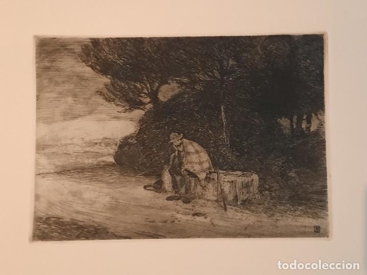 Arte: DESCANSO EN EL CAMINO Grabado Ricardo Baroja Aguatinta Aguafuerte Calcografía Nacional 1908 ED 70,S - Foto 2 - 249467695