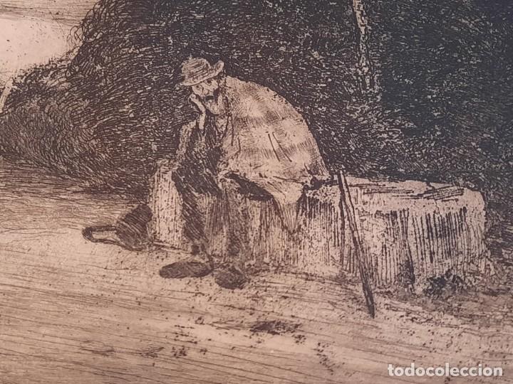 Arte: DESCANSO EN EL CAMINO Grabado Ricardo Baroja Aguatinta Aguafuerte Calcografía Nacional 1908 ED 70,S - Foto 3 - 249467695