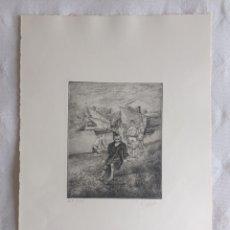 """Arte: GRABADO DE FERNANDO G. VALDEÓN. """"LOS RAQUEROS"""" DE LA SERIE """"SOTILEZA"""". Lote 251167415"""