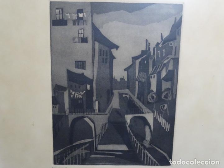 GRABADO - AGUAFUERTE ILEGIBLE. P/A. BIEN ENMARCADO. (Arte - Grabados - Contemporáneos siglo XX)