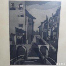 Arte: GRABADO - AGUAFUERTE ILEGIBLE. P/A. BIEN ENMARCADO.. Lote 251419740