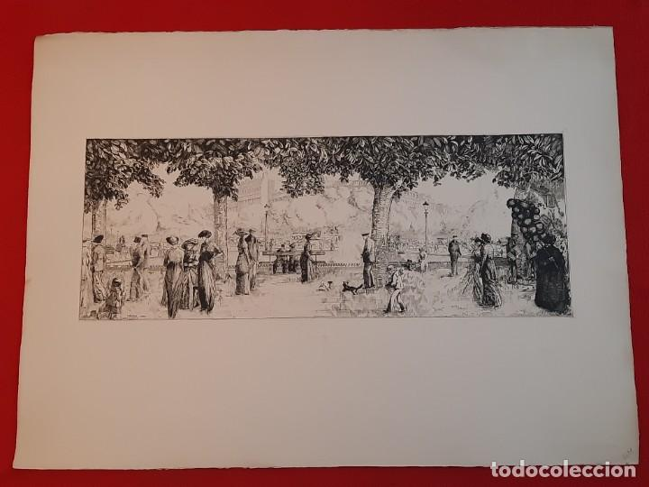 GRABADO CALCOGRAFÍA JEAN EMILE LABOUREUR EDICIÓN LOUVRE LES CHAMPS-ELYSÉES, C 1932 (Arte - Grabados - Contemporáneos siglo XX)
