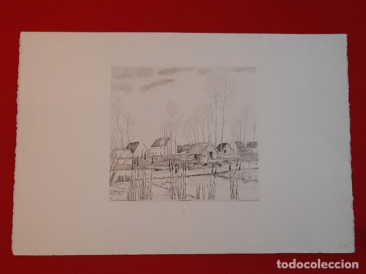 GRABADO CALCOGRAFÍA JEAN EMILE LABOUREUR EDICIÓN LOUVRE C 1932 UN DIMANCHE DE PRINTEMPS A LONGCHAMP (Arte - Grabados - Contemporáneos siglo XX)