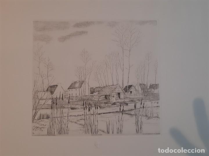 Arte: Grabado Calcografía Jean Emile Laboureur Edición Louvre C 1932 Un Dimanche de printemps a longchamp - Foto 2 - 251838080