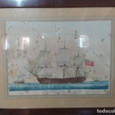 Arte: GRABADO COLOREADO DE VELERO DE LA FRAGATA INGLESA - VERICO SALGOT. Lote 252180755