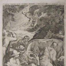 Arte: PEDRO PERRET. ANUNCIO A LOS PASTORES, SEGÚN BASSANO. 1627. GRABADO AL BURIL. PLANCHA 26,5X20 CM. Lote 252658520
