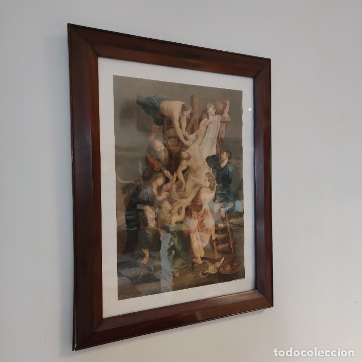Arte: Tremendo grabado a color. Descenso de la cruz. Jean Pierre Thouvenin. 1818. Firmado en plancha. - Foto 2 - 252678510