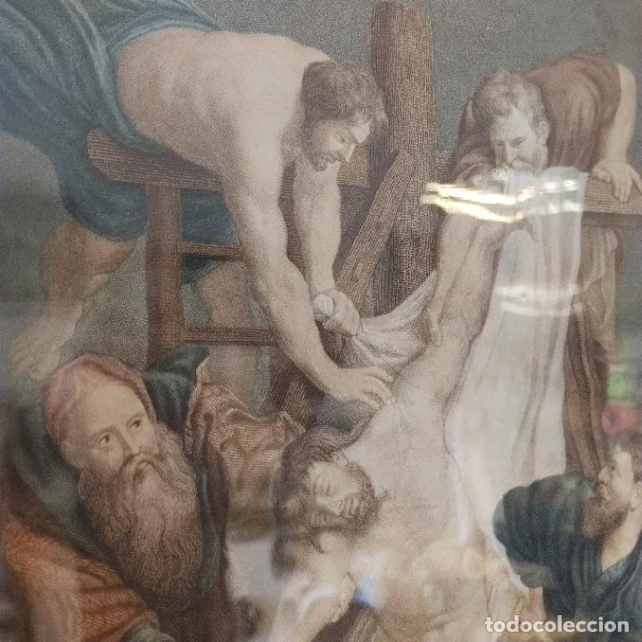 Arte: Tremendo grabado a color. Descenso de la cruz. Jean Pierre Thouvenin. 1818. Firmado en plancha. - Foto 4 - 252678510