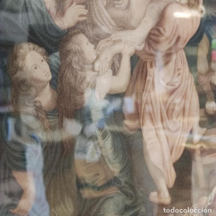 Arte: Tremendo grabado a color. Descenso de la cruz. Jean Pierre Thouvenin. 1818. Firmado en plancha. - Foto 6 - 252678510